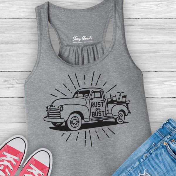 Rust or Bust vintage truck junkin tank top