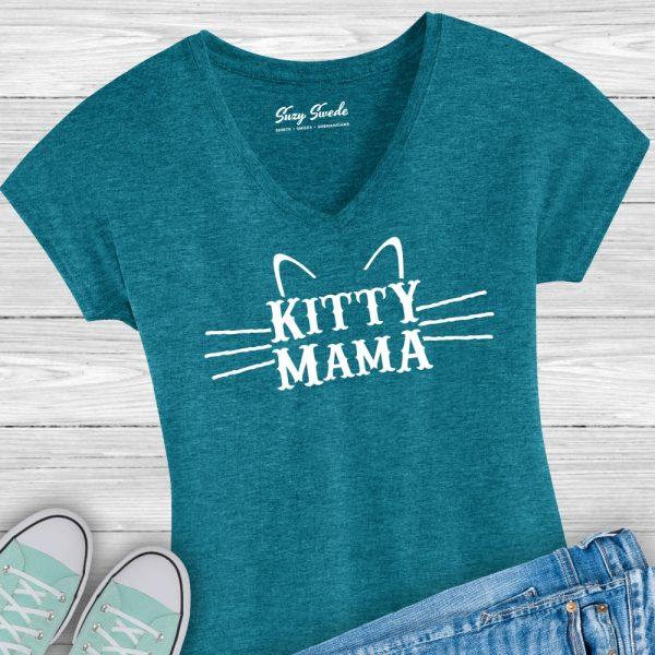 Kitty Mama Cat Mom Ladies V-Neck Shirt