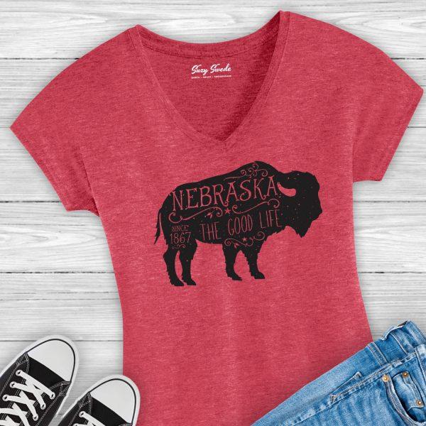 Nebraska The Good Life Buffalo ladies v-neck tee