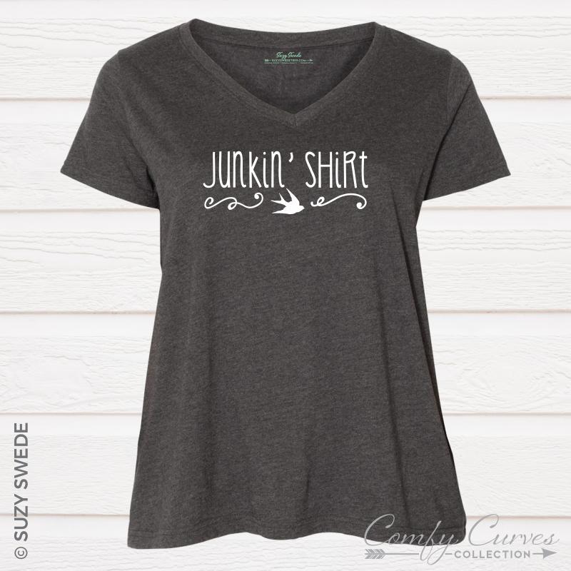 JunkinShirt-Vneck-Grey