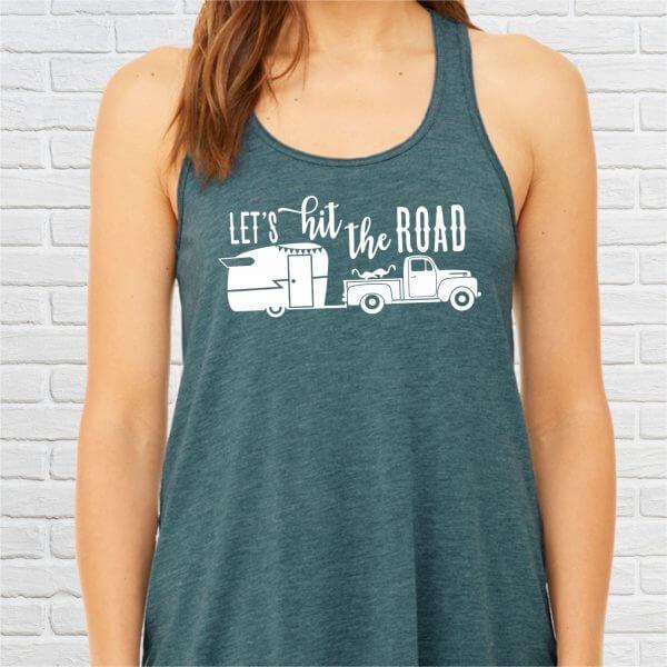 Lets Hit The Road Vintage Camper Tank Top