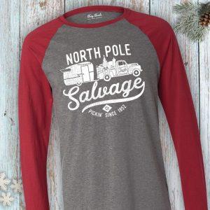 North Pole Salvage Long Sleeve Baseball Tee