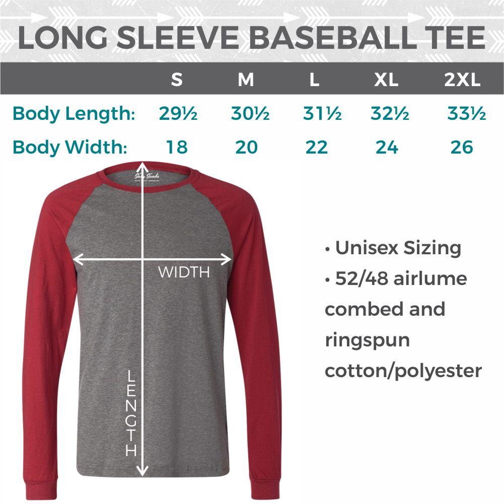 Size Chart Long Sleeve Baseball Tee