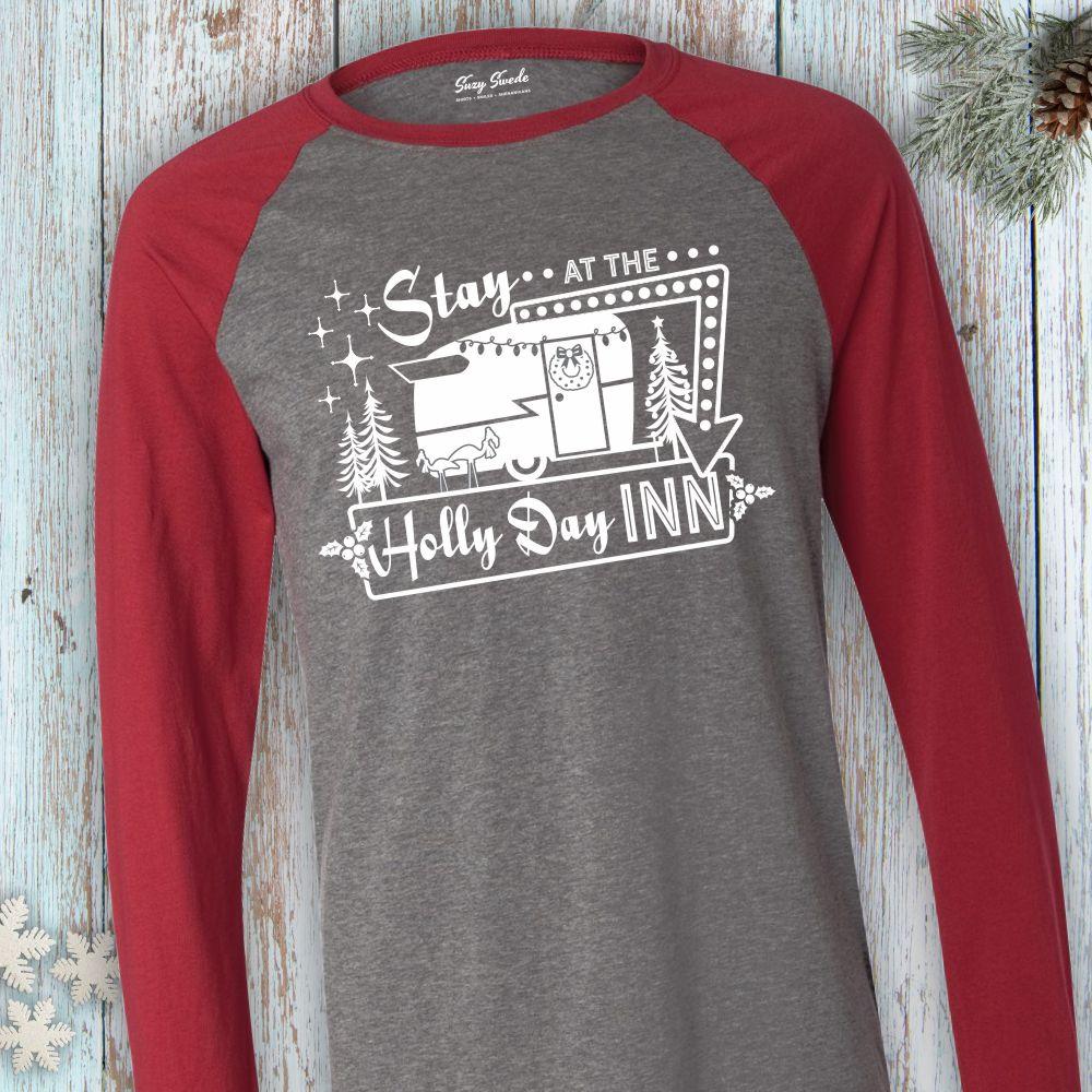 Stay-Holly-Day-Inn-Longsleeve-Baseball-Tee