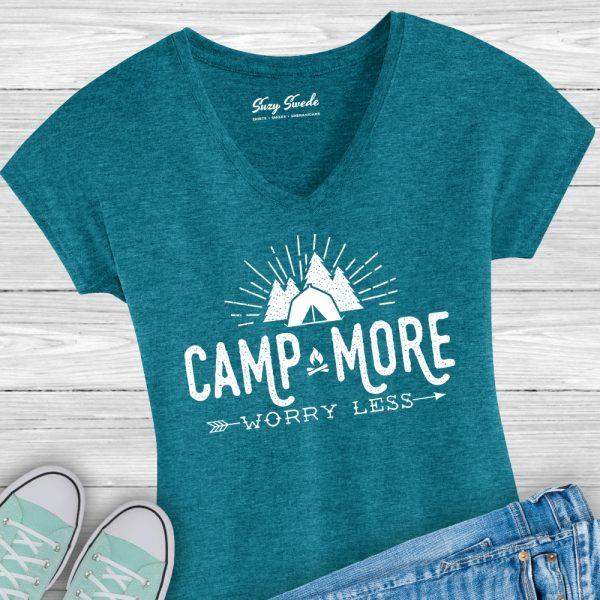 Camp More Worry Less Ladies Vneck Tee