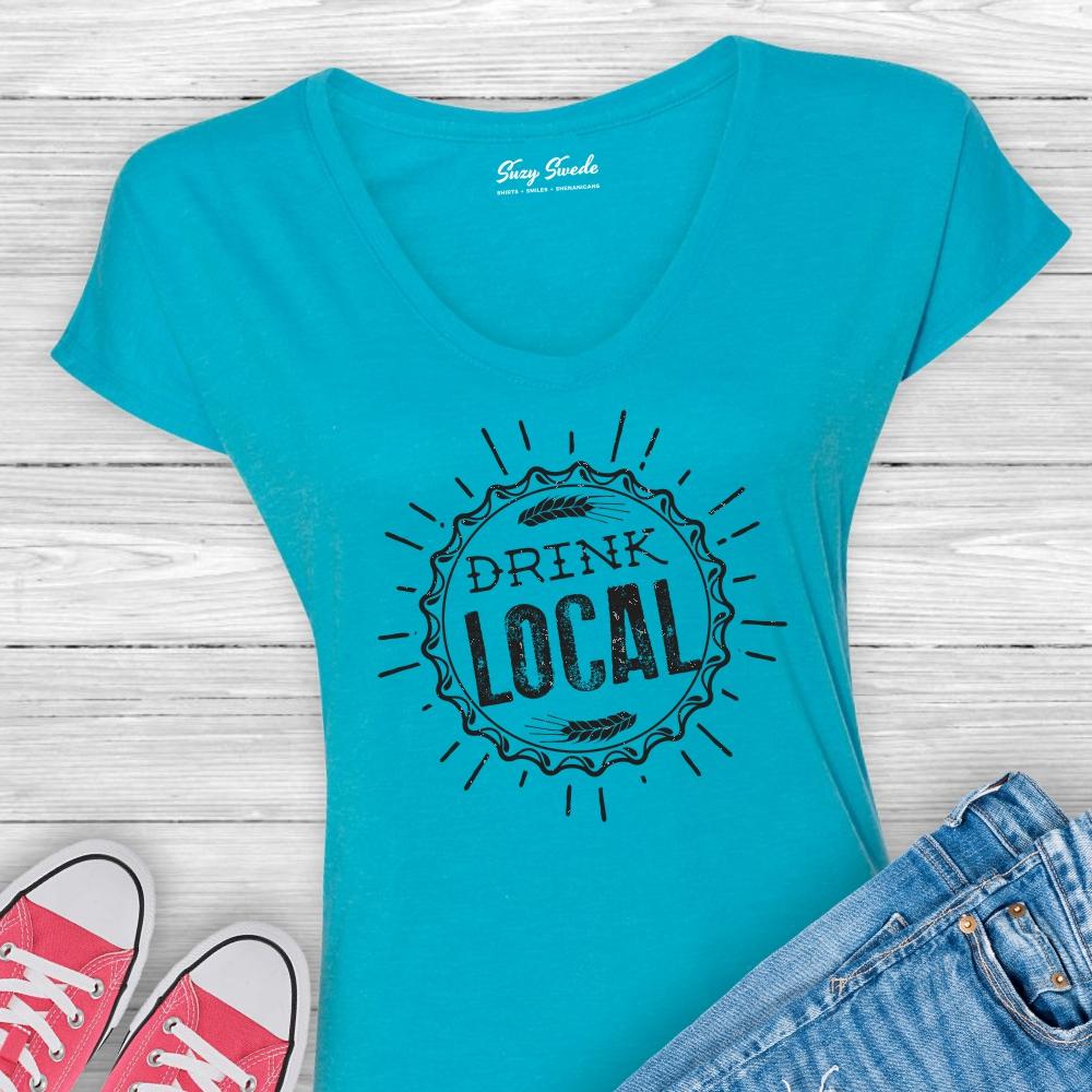 Drink Local Vneck Ladies Beer Shirt