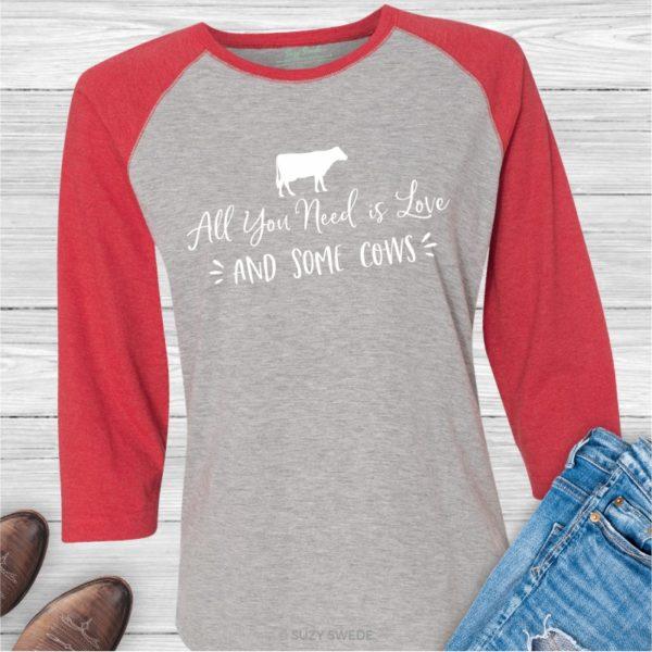 All You Need Love Cows Baseball Raglan Shirt