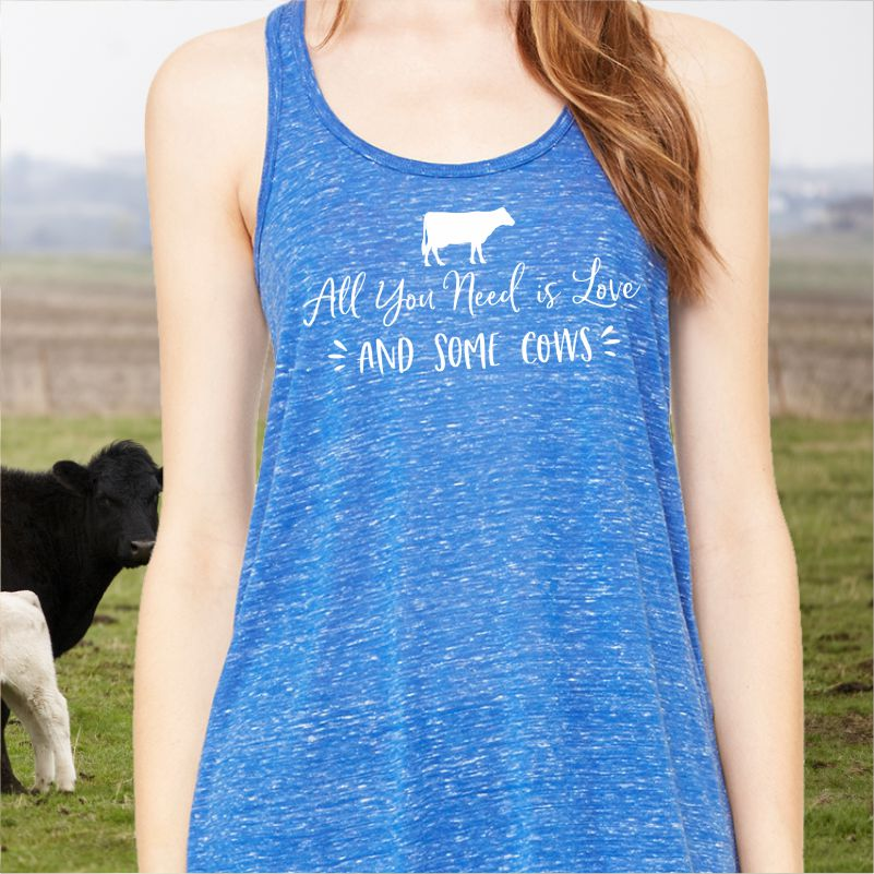 All You Need is Love and some Cows Ladies Racerback Tank Top