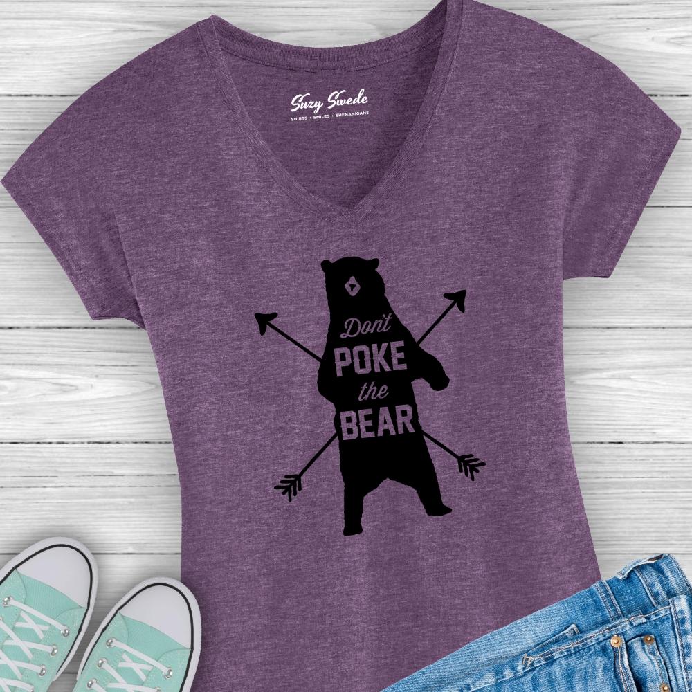 Dont-poke-the-bear-ladies-vneck-tshirt