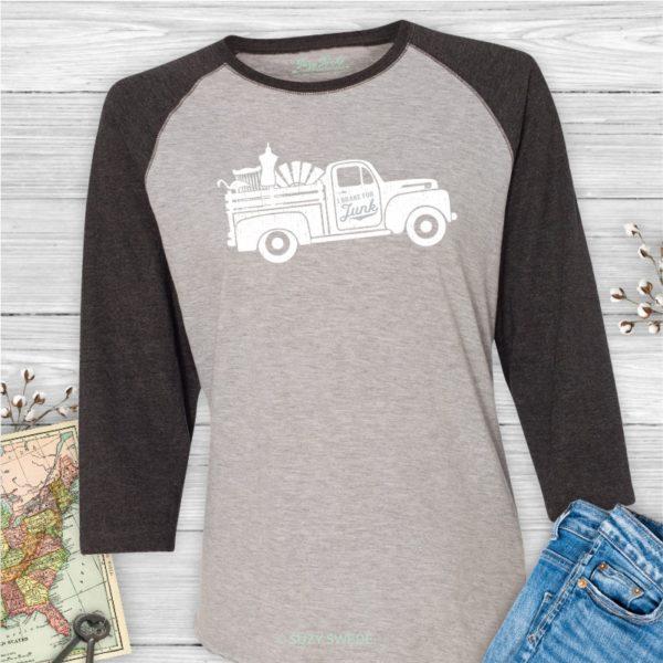 I Brake for Junk Ladies Baseball Retro Truck Junkin' Shirt