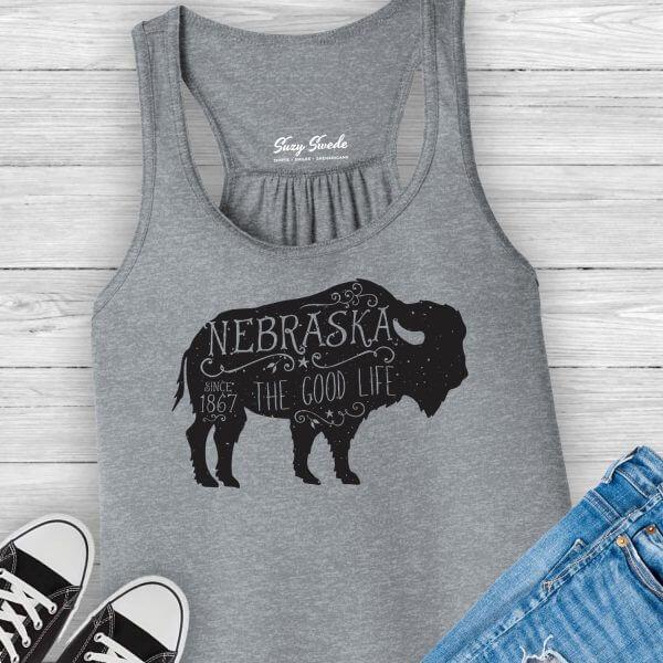 Nebraska Good Life Buffalo Ladies Tank