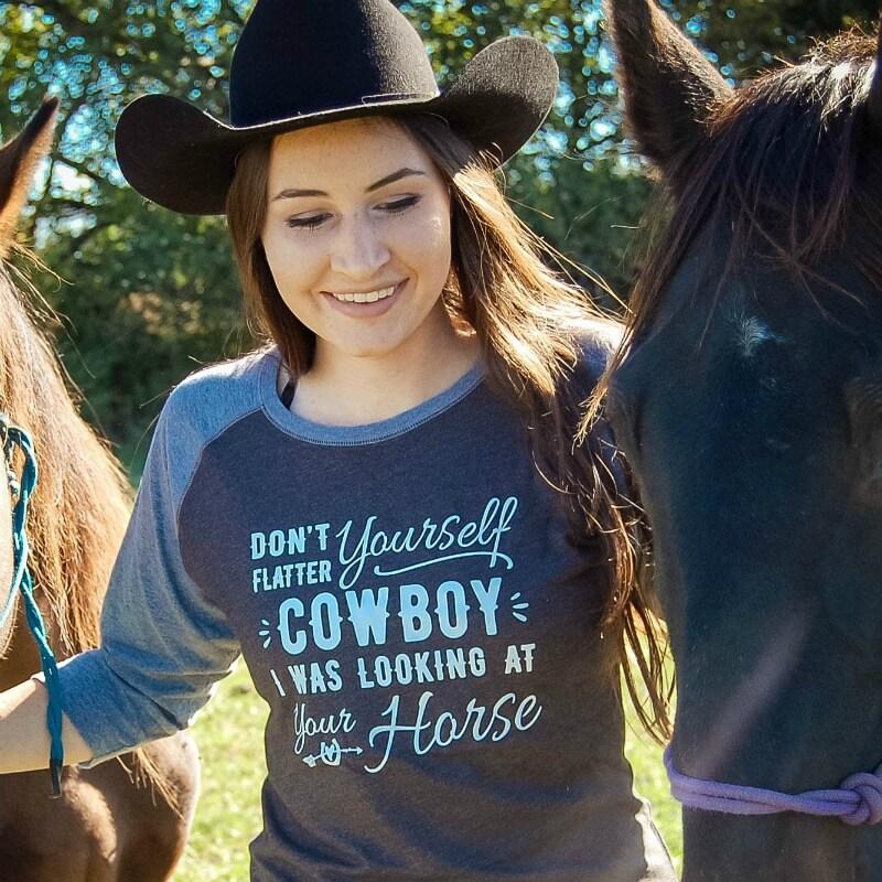 Dont-flatter-yourself-cowboy-ladies-baseball-tee