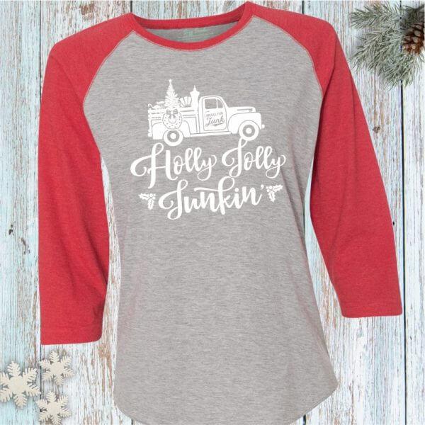 Holly Jolly Junkin' Baseball Tee Shirt