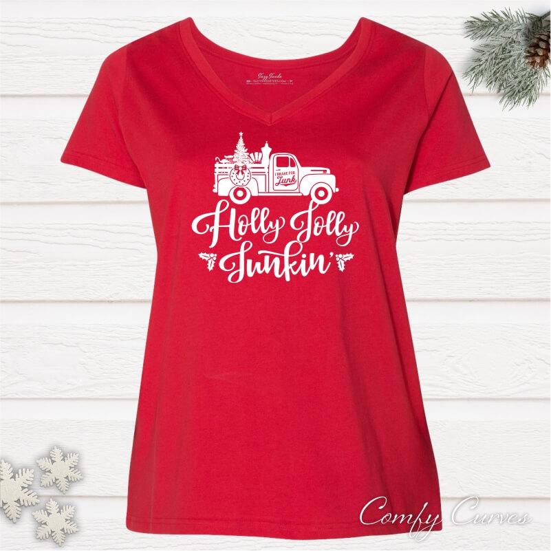 Holly-Jolly-Junkin-Ladies-Curvy-Holiday-Tee-Shirt