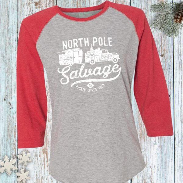 North Pole Salvage Holiday Junkin' Baseball Tee