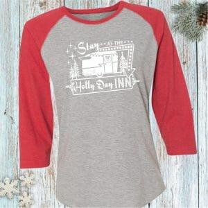 Stay at the Holly Day Inn Holiday Baseball tee