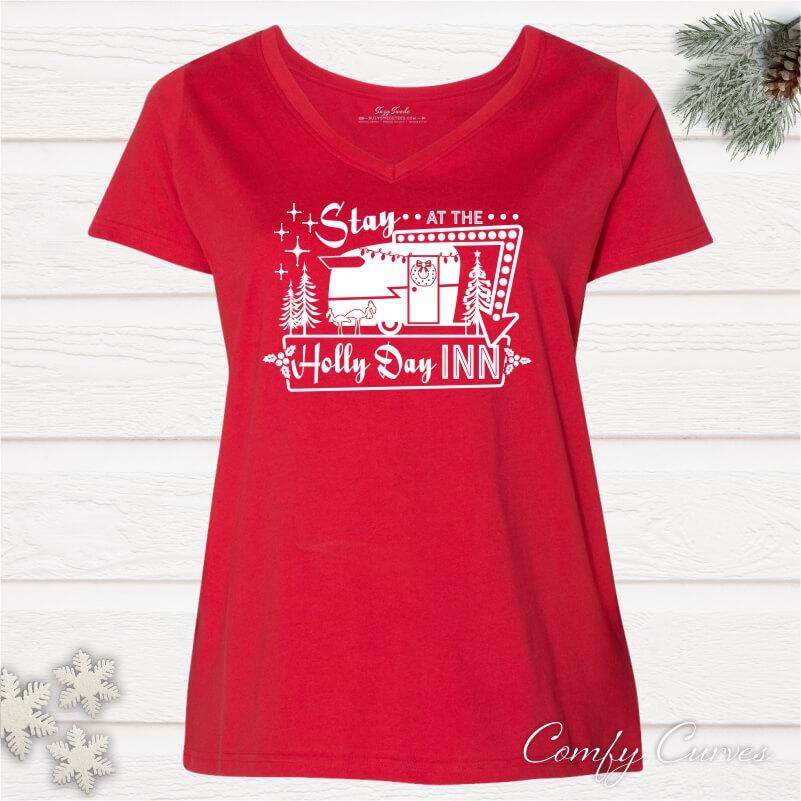 Stay-Holly-Day-Inn-Curvy-Ladies-Tee