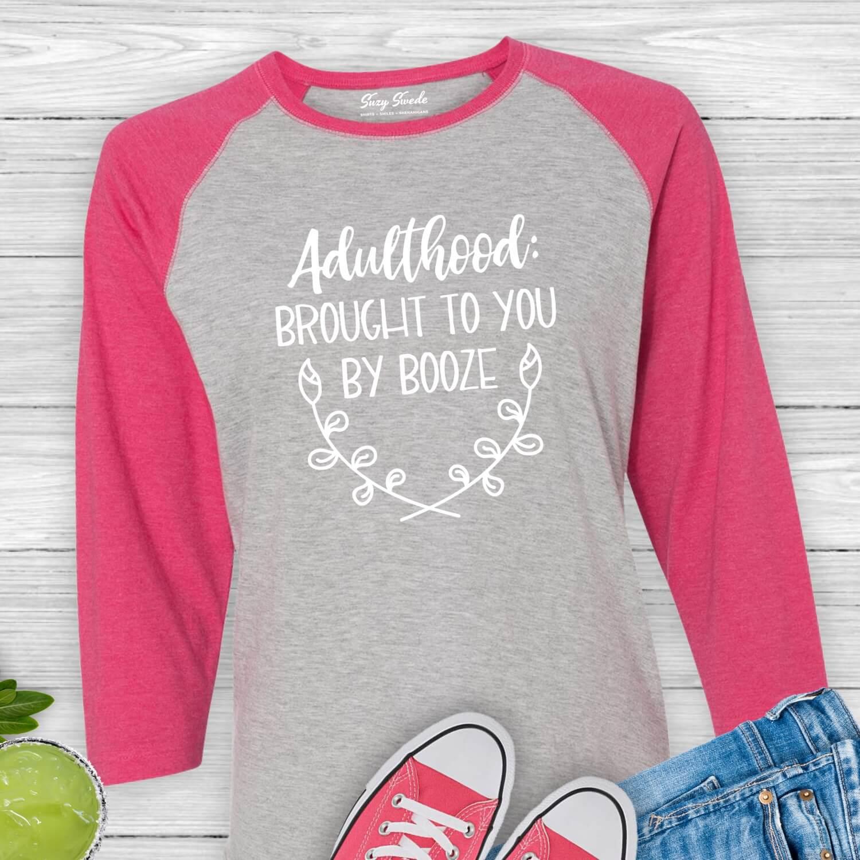 Adulthood-Booze-Baseball-Tee