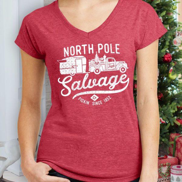 North Pole Salvage Ladies Vintage Holiday Shirt
