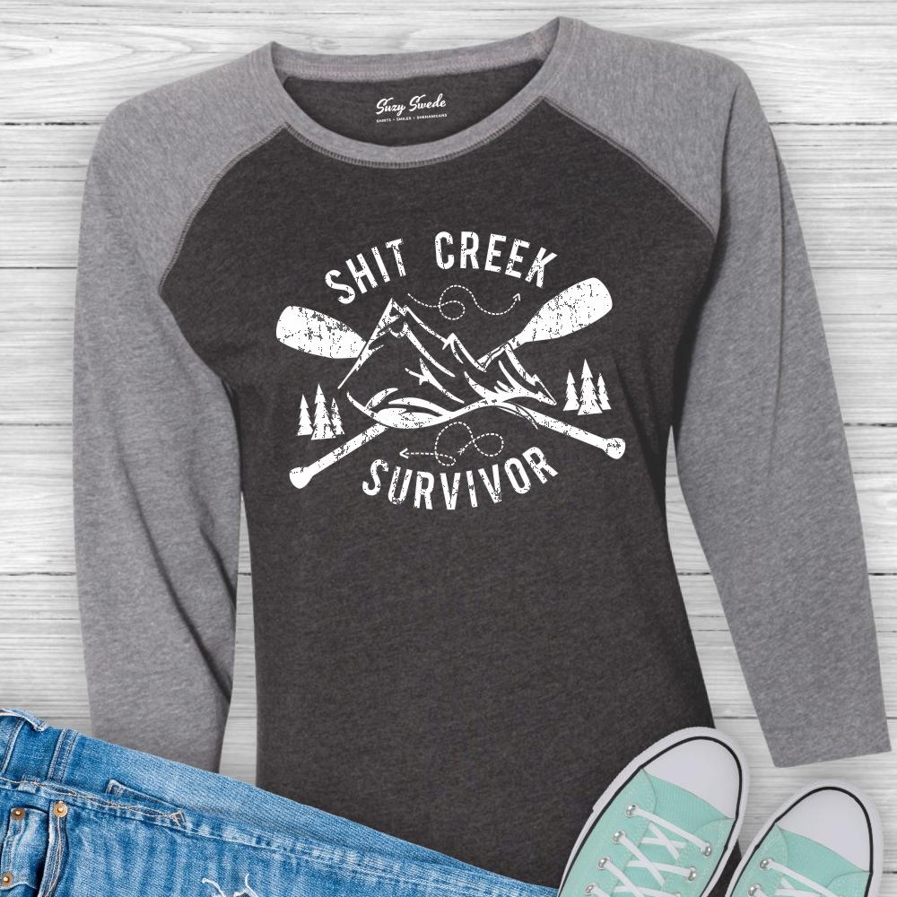 Shit-Creek-Survivor-Baseball Tee