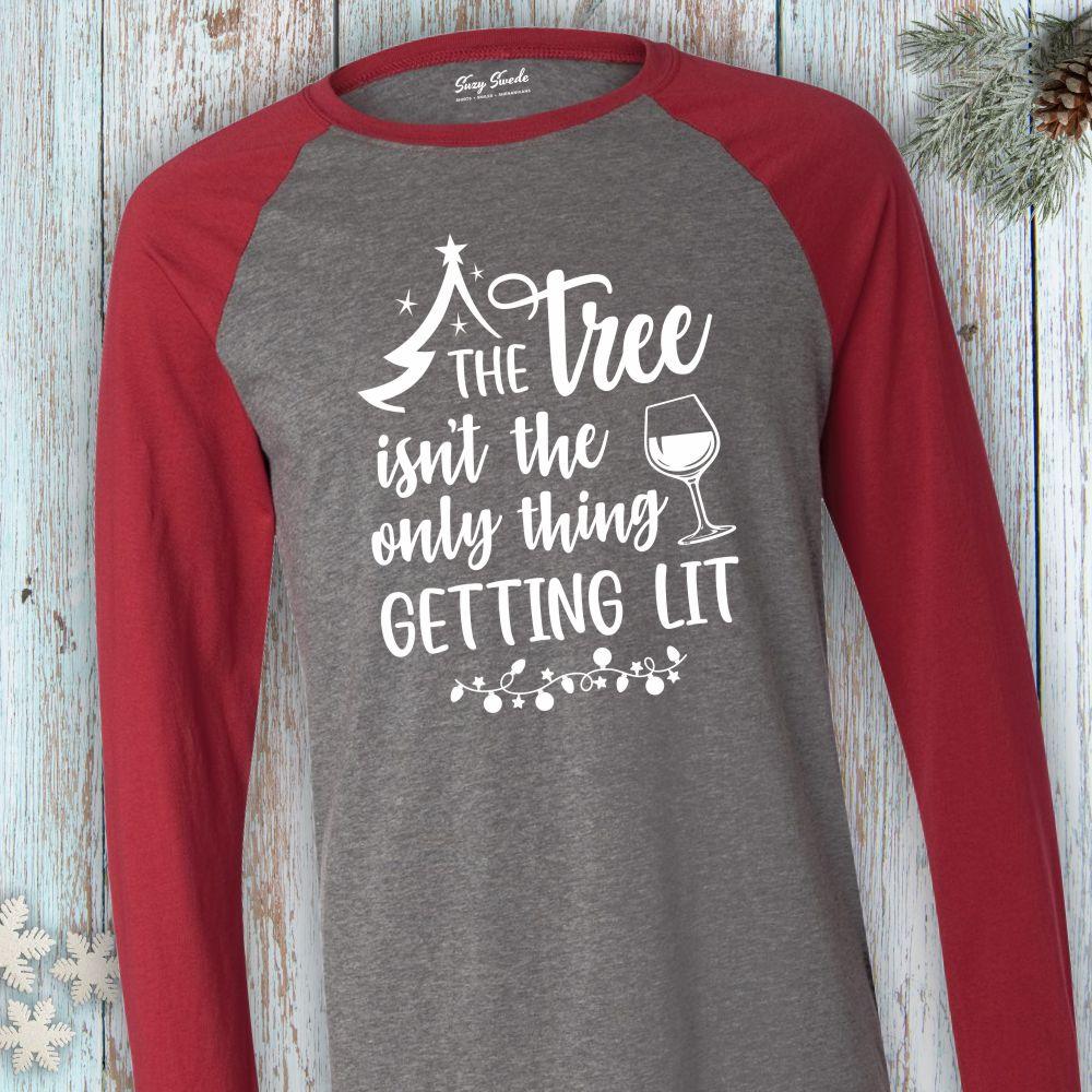 Tree-Getting-Lit-Funny-Christmas-LongSleeve-Baseball-Tee