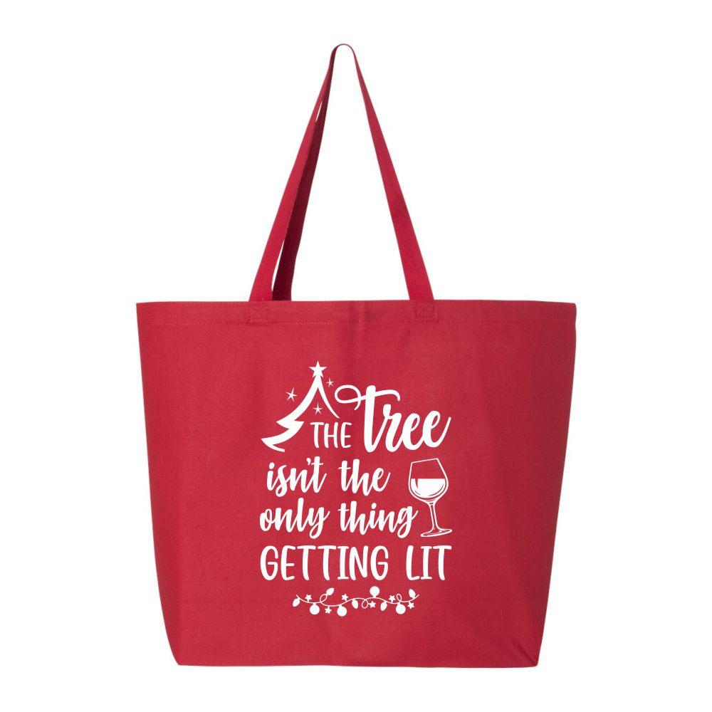 Tree-Getting-Lit-Funny-Christmas-Tote-Bag