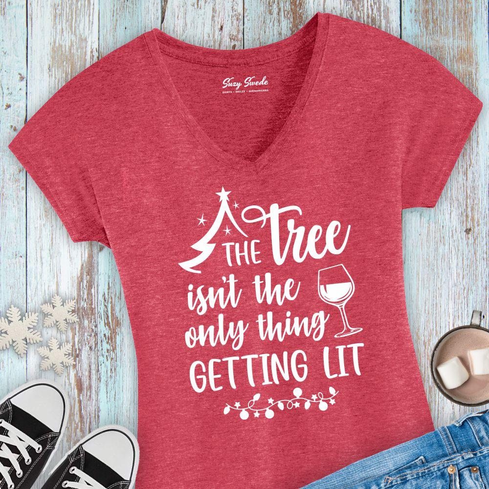 Tree-Getting-Lit-Funny-Christmas-ladies-vneck