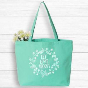 Let Love Bloom Boho Tote Bag