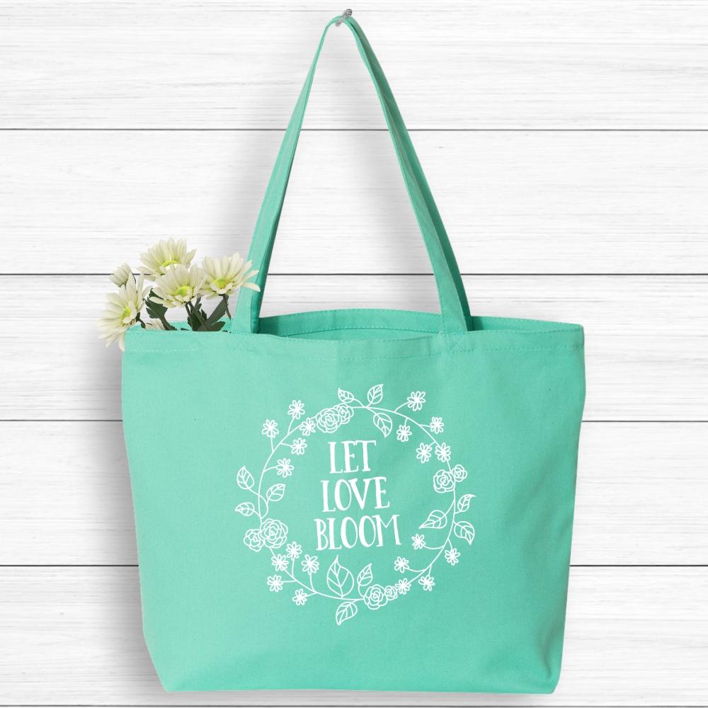 Let Love Bloom Boho Tote