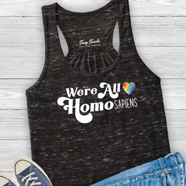 We're All Homosapiens LGBTQ ally women's racerback tank