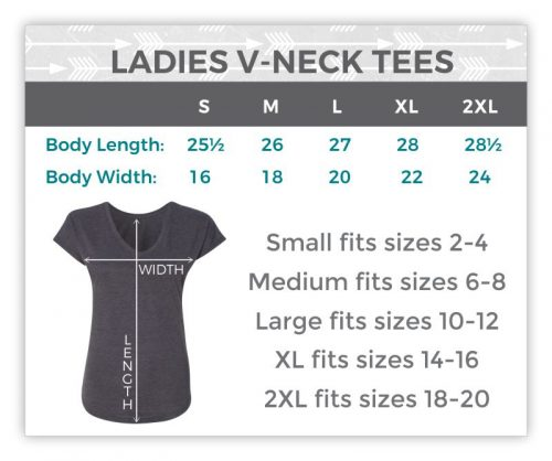 Ladies V-Neck Size Chart